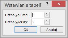 Okno dialogowe Wstawianie tabeli w programie PowerPoint