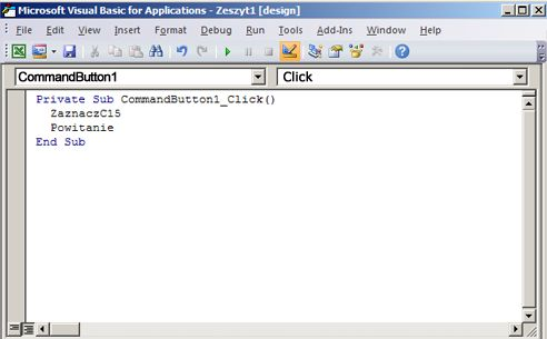Podprocedura w Edytorze Visual Basic