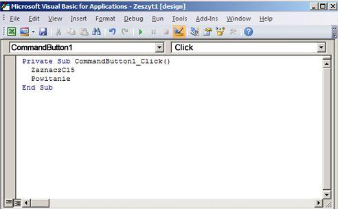 Procedura w Edytorze Visual Basic