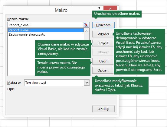 Okno dialogowe Makro