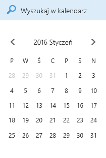 Pole wyszukiwania kalendarza