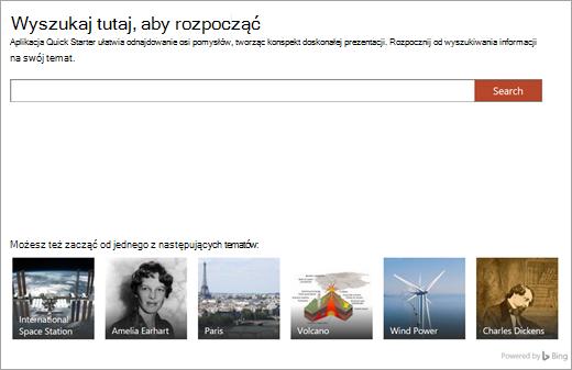 Funkcja Szybki start w programie PowerPoint