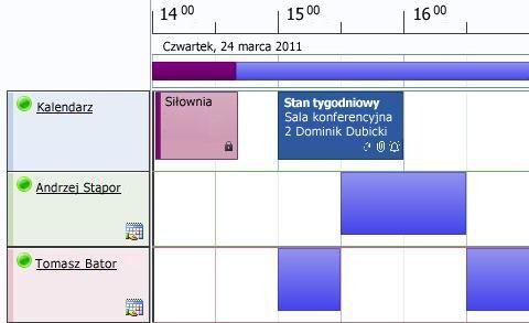 Widok harmonogramu kalendarza