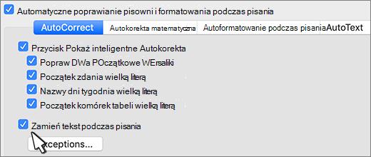 Pole wyboru Zamieniaj tekst podczas pisania w programie Word dla komputerów Mac.