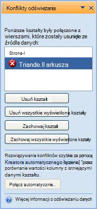 Okno Konflikty odświeżania zawierające listę kształtów, które już nie mają odpowiadającego wiersza w źródle danych