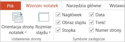 Symbol zastępczy pola wyboru na karcie wzorzec notatek