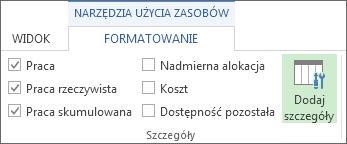Karta Narzędzia użycia zasobów > Formatowanie, przycisk Dodaj szczegóły