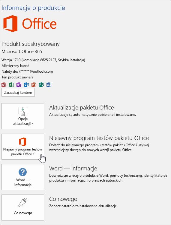 Pakiet niejawnego programu testów pakietu Office w aplikacji.