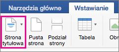Wybieranie polecenia Strona tytułowa w menu Wstaw