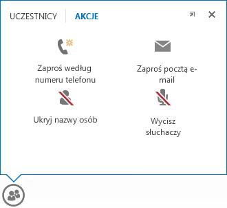 Zrzut ekranu: menu wyświetlane po umieszczeniu wskaźnika myszy na przycisku Osoby z zaznaczoną kartą Akcje