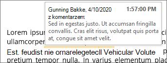 Komentarz w tekście z etykietką ekranową