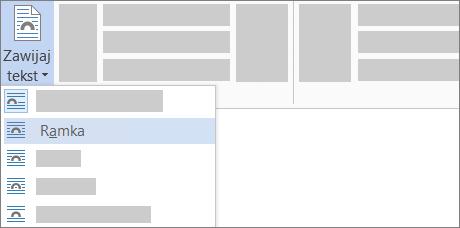 Opcje Zawijaj tekst na wstążce