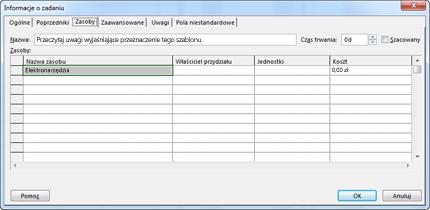 Karta zasobu w oknie dialogowym Informacje o zadaniu