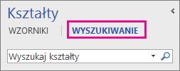 Wyszukiwanie kształtów przez kliknięcie przycisku Wyszukaj w oknie Kształty