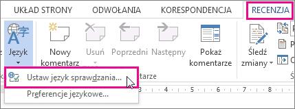 Ustawianie innego języka sprawdzania w programie Word 2013