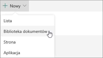 Menu Nowy w usłudze SharePoint Online