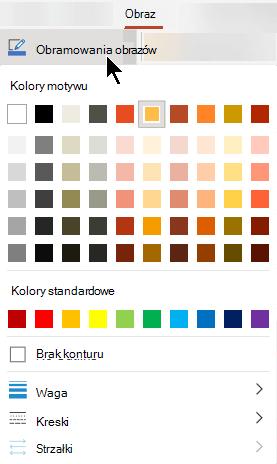 Menu obramowanie obrazu zawiera opcje kolor, grubość i styl linii.
