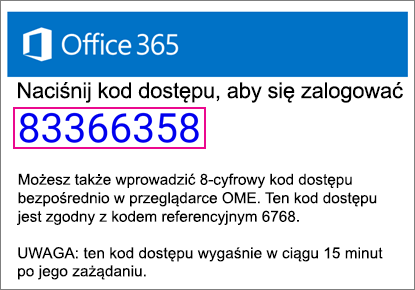 Wiadomości E-mail kod dostępu przeglądarka OME