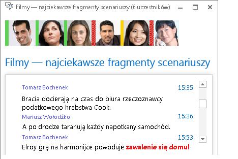 Zrzut ekranu: okno pokoju rozmów zawierające nową wiadomość z czerwonym, pogrubionym tekstem i dodanym emotikonem