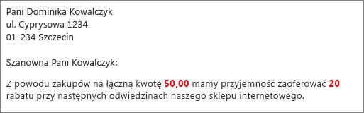 """Dokument korespondencji seryjnej zawiera tekst w formacie """"wkład wynosi 50,00 zł"""" i """"oferujemy 20% rabatu""""."""