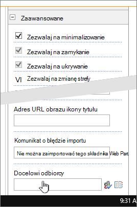 Właściwości składnika Web part zaawansowane sekcji z wyróżnionym docelowych odbiorców