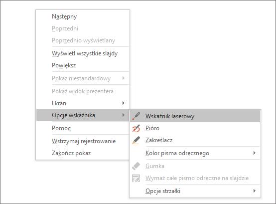 Menu opcji wskaźnika w programie PowerPoint
