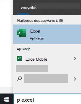 Zrzut ekranu przedstawiający wyszukiwanie aplikacji w wyszukiwaniu w systemie Windows 10