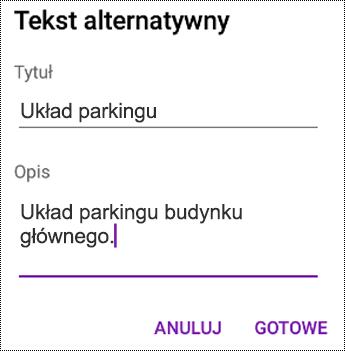 Dodawanie tekstu alternatywnego do obrazów w aplikacji OneNote dla systemu Android