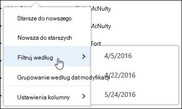 Filtrowanie widoku biblioteki dokumentów w usłudze Office 365