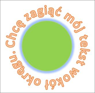 Tekst zakrzywiony wokół okrągłego kształtu