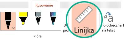 Wzornik Linijka znajduje się na karcie Rysowanie wstążki w programie PowerPoint 2016.