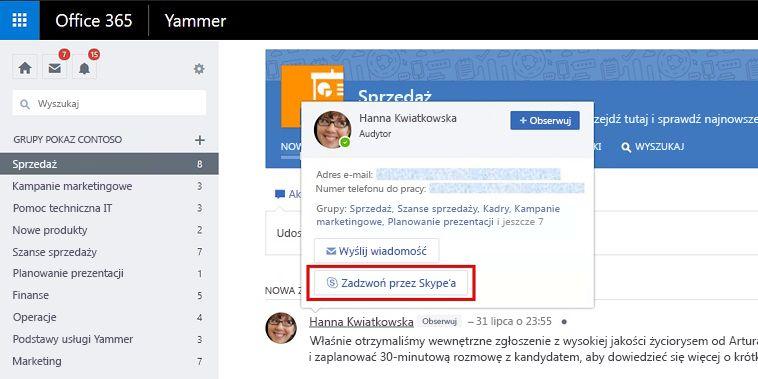 Rozmowa kartą aktywowaną ze Skype