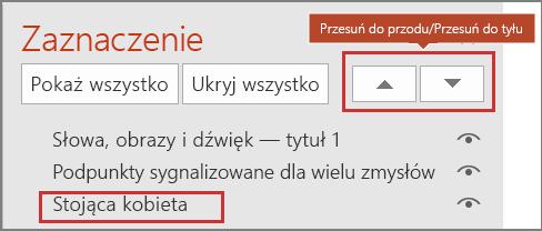 Interfejs użytkownika programu PowerPoint z widocznymi elementami w okienku zaznaczenia i przyciskami Przesuń do przodu/Przesuń do tyłu.
