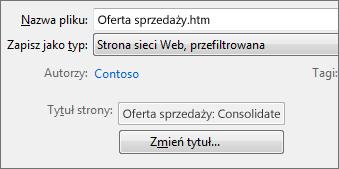 Okno dialogowe Zapisywanie jako z wybraną opcją Strona sieci Web, przefiltrowana