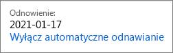 Link umożliwiający wyłączanie automatycznego odnawiania subskrypcji usługi Office 365 dla Użytkowników Domowych.