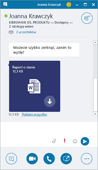 Zrzut ekranu przedstawiający okno komunikatora z przychodzącym załącznikiem.