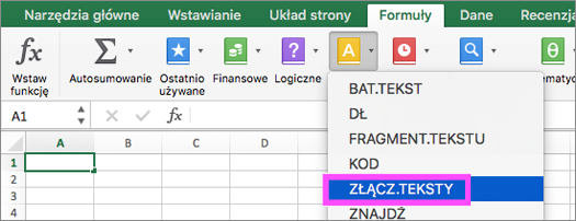 Funkcje ZŁĄCZ.TEKST i POŁĄCZ.TEKSTY dostępne w programie Excel.