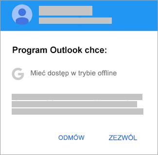 Naciśnij pozycję Zezwalaj, aby zezwolić aplikacji Outlook na dostęp offline.