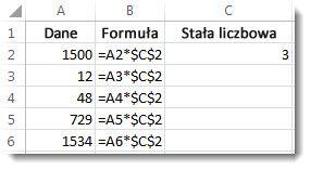 Dane w kolumnie A, formuła w kolumnie B z symbolami $ i liczba 3 w kolumnie C