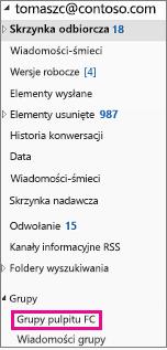 Okienko nawigacji Outlook 2016 z wyróżnionym grup