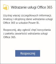 Wybierz pozycję Rozpocznij na karcie Office 365 Adoption