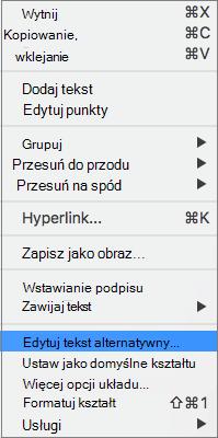 Tekst alternatywny opcję w menu kontekstowym dodawania tekstu alternatywnego do kształtu