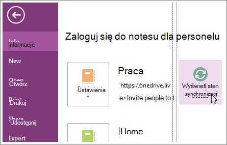 Wyświetlanie stanu synchronizacji notesów programu OneNote.