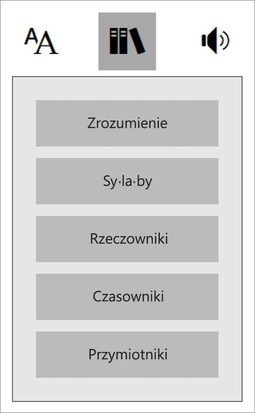 Menu Części mowy w czytniku immersyjnym, składniku dodatku Narzędzia edukacyjne dla programu OneNote.