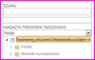 Zrzut ekranu przedstawiający widok drzewa w narzędziu do zarządzania magazynami terminów, na którym jest widoczna nazwa taksonomii i foldery podrzędne.