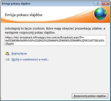 Okno dialogowe Emisja pokazu slajdów z adresem URL pokazu slajdów.