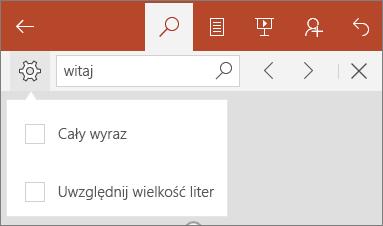 Pokazuje opcje znajdowania w programie PowerPoint Mobile: Uwzględnij wielkość liter i Uwzględnij wyrazy.