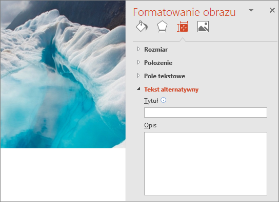 Stare: obraz jeziora lodowcowego z oknem dialogowym Formatowanie obrazu nie zawierającym tekstu alternatywnego w polu Opis.