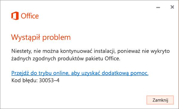 """Komunikat o błędzie 30053 """"Wystąpił problem"""""""