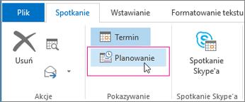 Przycisk Asystent planowania